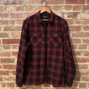 AllSaints Black/Red Plaid Long Sleeve Button Down